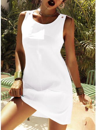 Solid Color Strap U-Neck Plus Size Casual Cover-ups Swimsuits