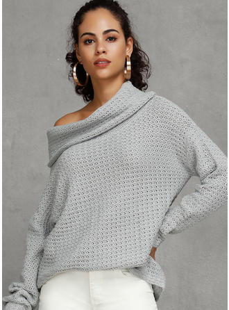 Waffle Knit One Shoulder Sweaters