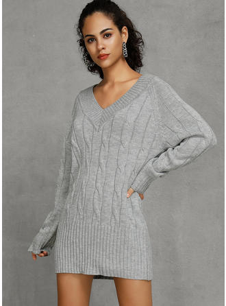 Couleur Unie Col V Moulant Sexy Robe Pull