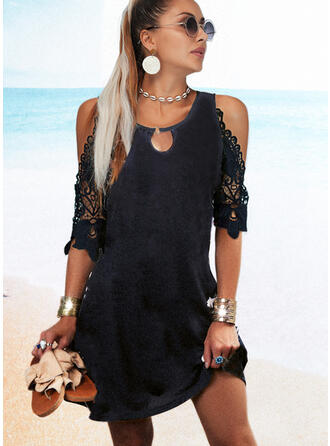 Solid Lace 1/2 Sleeves Shift Above Knee Little Black/Casual Tunic Dresses