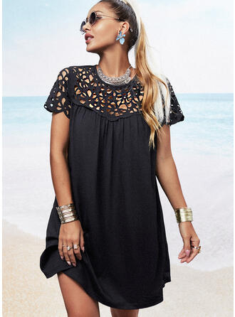 Solid/Hollow-out Short Sleeves Shift Above Knee Little Black/Casual/Vacation Tunic Dresses