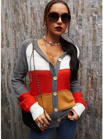 Color Block Hooded Casual Cardigan