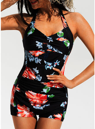 Floral Halter Sexy Plus Size One-piece Swimsuits