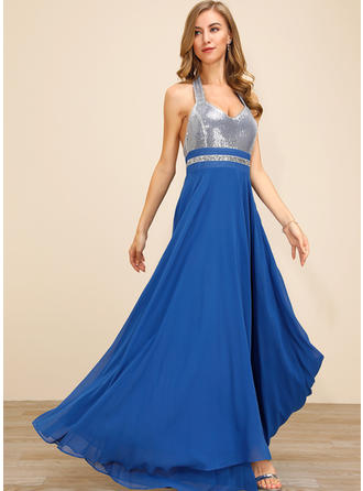 Sequins/Solid Sleeveless A-line Skater Sexy/Party Maxi Dresses