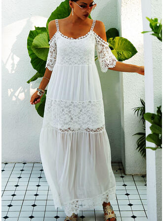 Lace/Solid 1/2 Sleeves/Cold Shoulder Sleeve Shift Casual/Vacation Maxi Dresses