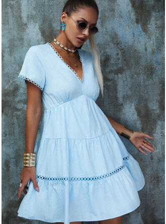 Lace/Hollow-out Short Sleeves A-line Above Knee Casual Skater Dresses