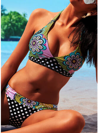Floral Halter Beautiful Plus Size Bikinis Swimsuits