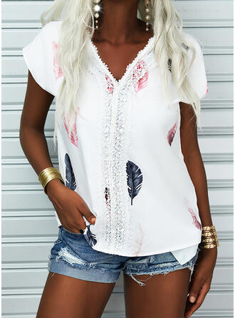 Print Lace V-Neck Short Sleeves Cap Sleeve Casual Blouses