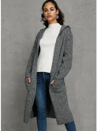 Solid Pocket Hooded Cardigan