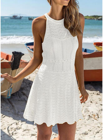 Solid Color Round Neck High Neck Sexy Boho Cover-ups Swimsuits