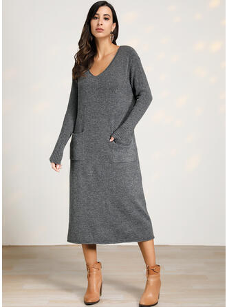 Solid Cable-knit Pocket V-Neck Sweater Dress