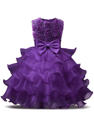 Girls Round Neck Solid Lace Bow Cute Party Dress