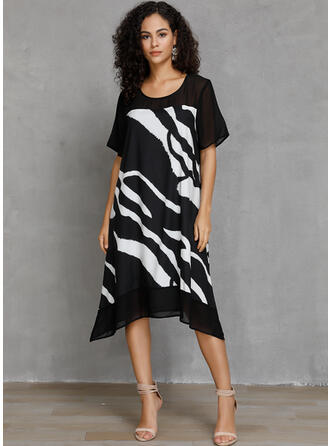 Print Short Sleeves Shift Casual Midi Dresses