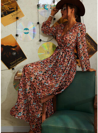 Print/Floral Long Sleeves A-line Wrap/Skater Casual/Vacation Midi Dresses