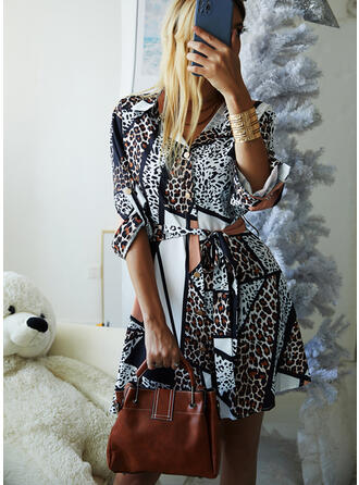 Leopard Long Sleeves A-line Above Knee Casual Shirt/Skater Dresses