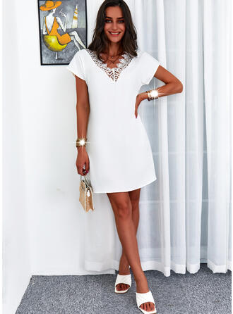 Solid Lace Short Sleeves Shift Above Knee Casual Tunic Dresses