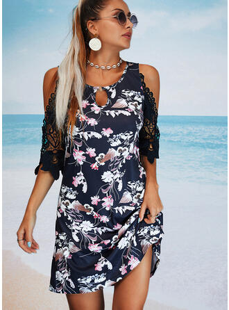 Lace/Print/Floral Sleeveless A-line Above Knee Casual/Vacation Skater Dresses