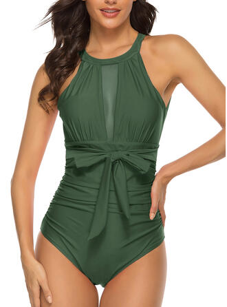 Solid Color Knotted Round Neck High Neck Sexy One-piece Swimsuits