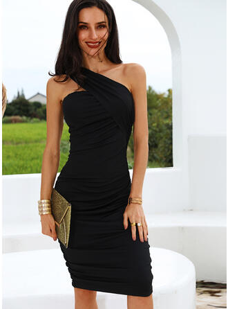Solid Sleeveless Bodycon Knee Length Little Black/Sexy/Party Dresses
