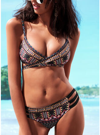 Print Geometric Halter Sexy Colorful Bikinis Swimsuits