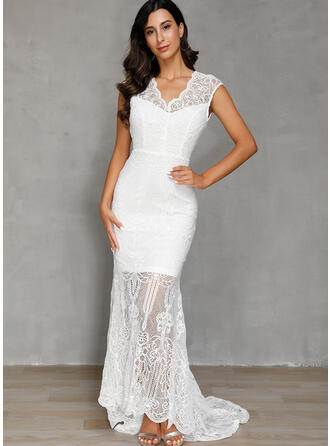Lace/Solid Cap Sleeve Sheath Party/Elegant/Vacation Maxi Dresses