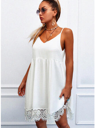 Lace/Solid Sleeveless Shift Above Knee Casual Slip Dresses