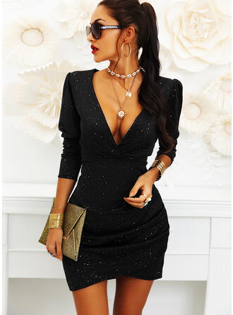 Solid 3/4 Sleeves/Puff Sleeves Bodycon Above Knee Little Black/Party/Elegant Dresses