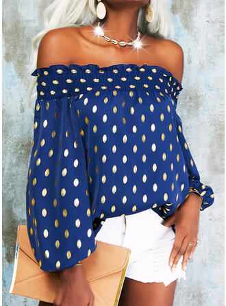 Print Off the Shoulder 3/4 Sleeves Dropped Shoulder Casual Blouses