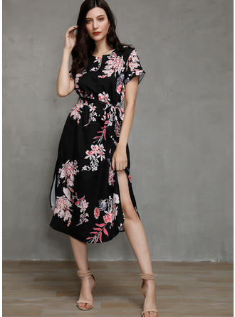 Print/Floral Short Sleeves Sheath Sexy/Casual/Boho/Vacation Midi Dresses