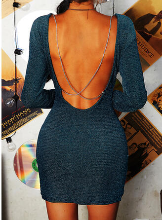 Solid/Backless Long Sleeves Bodycon Above Knee Sexy/Party Dresses