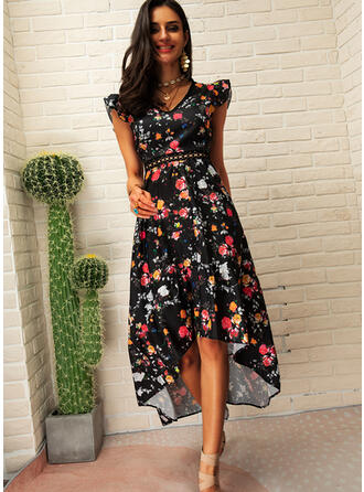 Lace/Print/Floral/Backless Short Sleeves A-line Asymmetrical Sexy/Casual/Boho/Vacation Dresses