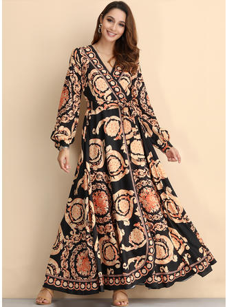 Print Long Sleeves A-line Vintage/Casual/Boho/Vacation Maxi Dresses