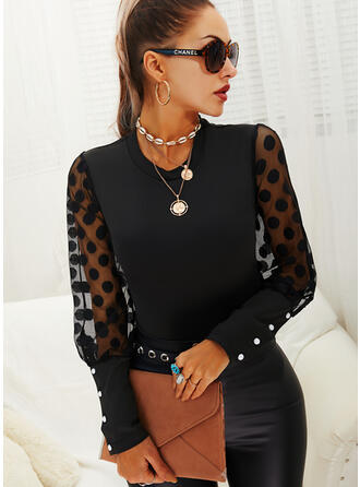 Solid PolkaDot Round Neck Puff Sleeves Long Sleeves Elegant Blouses