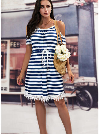 Print/Striped Lace Short Sleeves Shift Above Knee Casual Dresses