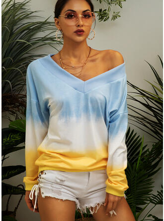 Tie-Dye One Shoulder Manches longues Sweat-shirts