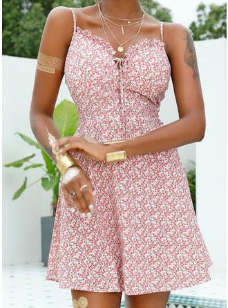 Print/Floral Sleeveless A-line Above Knee Sexy/Vacation Slip/Skater Dresses