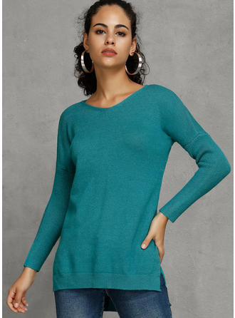 Solid V-Neck Sweater Dress