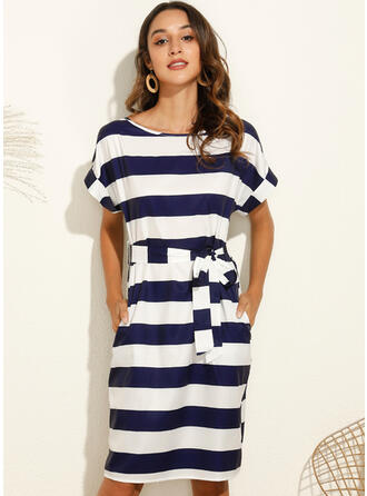 Striped Short Sleeves Bodycon Knee Length Casual Dresses