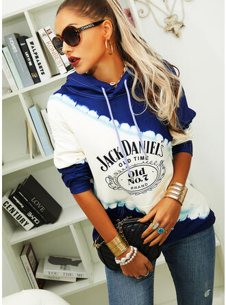 Print Color Block Figure Pockets Long Sleeves Hoodie