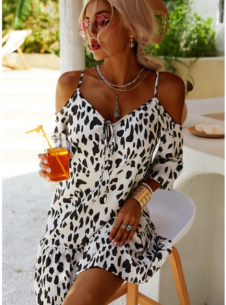 Leopard 3/4 Sleeves/Cold Shoulder Sleeve Shift Above Knee Casual/Vacation Tunic Dresses