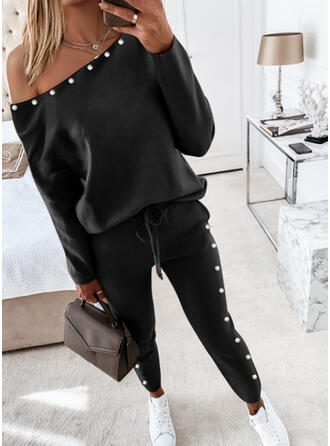Solid Casual Plus Size Blouse & Pants Two-Piece Outfits Set