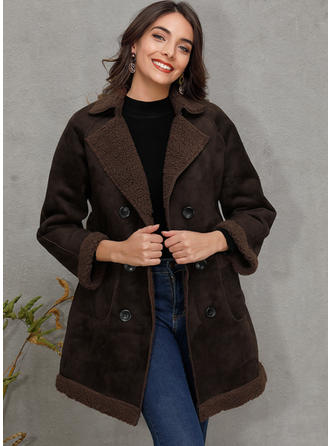 Polyester Lange ærmer Solid Color Faux Fur coat