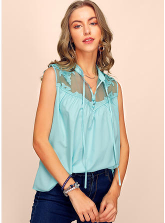Solid V-Neck Sleeveless Button Up Casual Tank Tops