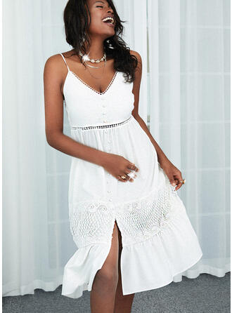 Lace/Solid Sleeveless A-line Slip/Skater Casual Midi Dresses