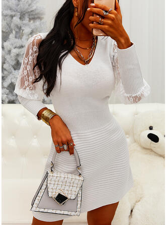 Lace V-Neck Casual Long Sweater Dress