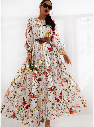 Print/Floral Long Sleeves/Split Sleeve A-line Skater Casual/Elegant Maxi Dresses