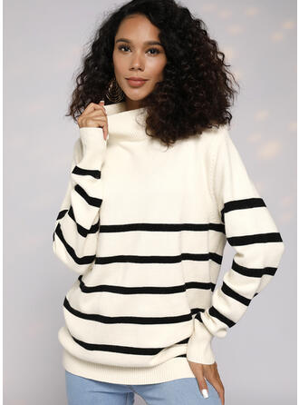 Striped Cable-knit Chunky knit Turtleneck Sweaters