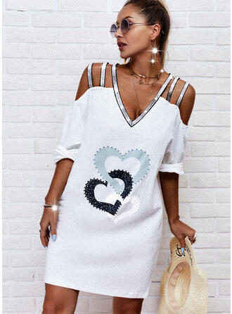 Print/Sequins/Heart 1/2 Sleeves Shift Knee Length Casual Tunic Dresses