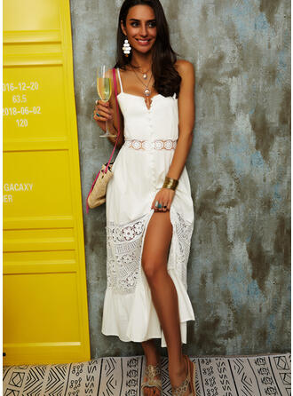 Lace/Solid/Backless Sleeveless A-line Slip/Skater Sexy/Party/Vacation Midi Dresses