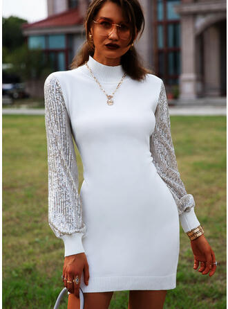 Sequins Round Neck Casual Long Sweater Dress